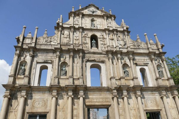The facade St. Paul's Church on the island of Macau, now in ruins and missing a roof