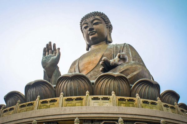 A giant statue of a seated Buddha on Lantau Island