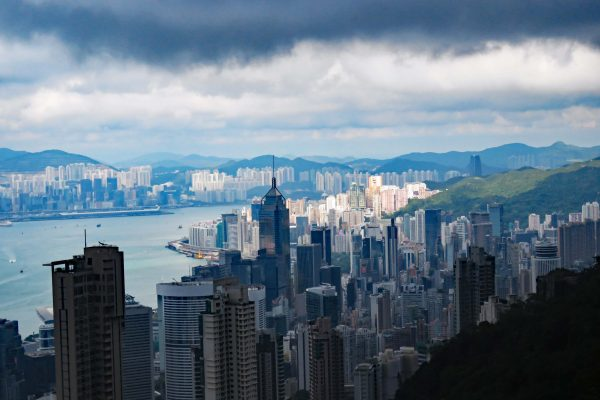 Dramatic dark storm clouds gather over the Hong Kong skyline