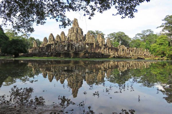 Temple of the Bayon reflected in a pond
