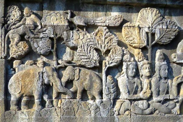 A bas relief showing monkeys, elephants and a peacock carved about 1300 years ago. This is one of 2,670 panels at the Borobudur Temple in Java, Indonesia.