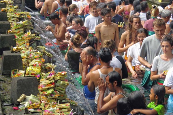 People line up in a pool to give flower offerings and partake in a ritual cleansing at a row of water spouts at the Tirta Empul Temple, Ubud, Bali, Indonesia