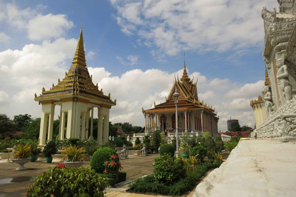 Classic Khmer buildings on the grounds of the Phnom Penh Royal Palace