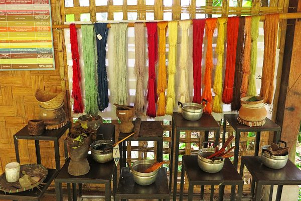 Silk thread dyed in different natural colors at Ock Pop Tok Living Crafts Centre, Luang Prabang, Laos