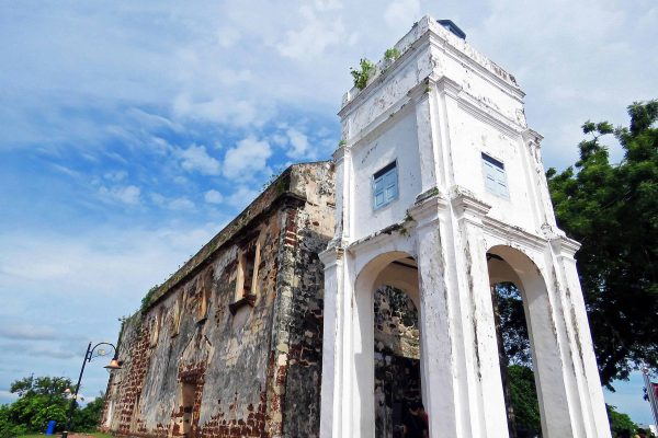 The hilltop ruins of St. Paul's Church (which is missing a roof) in Melaka (Malacca) Malaysia