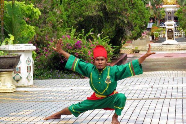 A male dancer in a green and red costume strikes a pose during a silat dance/martial arts performance at the Malacca Sultanate Palace, Mallaca, Malaysia.