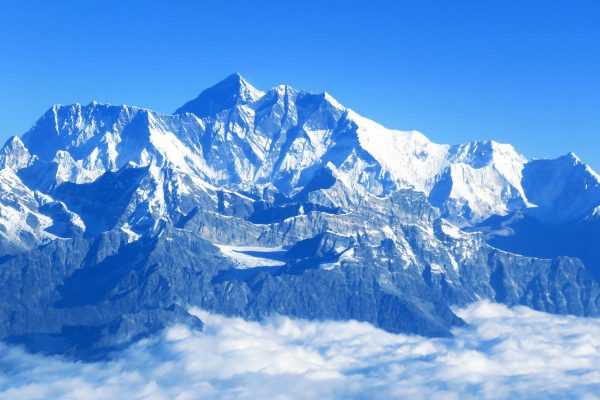 Snow-capped Mt. Everest as seen from the Himalayan sight seeing flight, Nepal.
