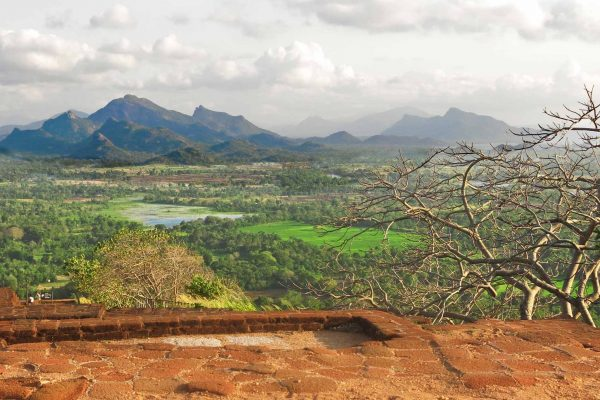 View of a green valley and a range of mountains in the distance, from the top of Sigiriya rock, Sri Lanka.