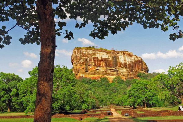 The ancient city of Sigiriya was built atop this magnificent flat-top rocky cliff jutting out of the ground near Dambulla, Sri Lanka.