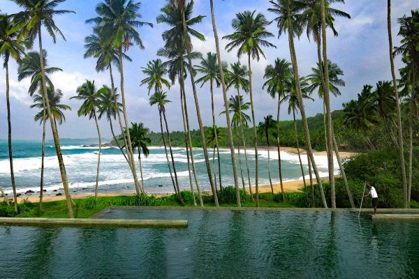 A man cleans a pool in front of palm trees and a pretty beach, Tangalle, Sri Lanka